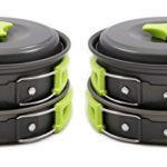 Camping Cookware Mess Kit Backpacking Gear & Hiking Outdoors Bug Out Bag Cooking Equipment 10 Piece Cookset | Lightweight, Compact, & Durable Pot Pan Bowls – Free Folding Spork, Nylon Bag, & Ebook
