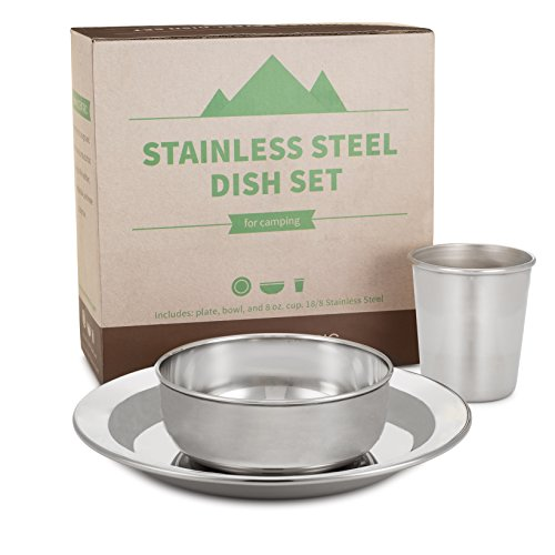 Compact Stainless Steel Dish Set For Home And Outdoor Use With Small Plate Bowl Cup BPA Free By HumanCentric