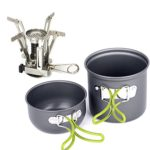 EIALA Camping Stove + Camping Pot Backpacking Cookware Set Picnic Cookware Cooking Tool Set Pot Pan + Piezo Ignition Propane Canister Stove