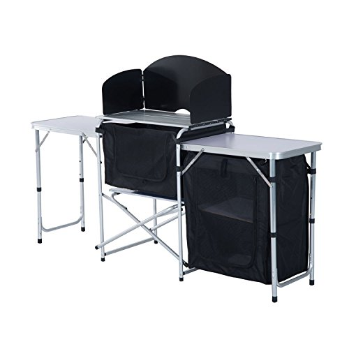 Outsunny 6′ Portable Fold-Up Camp Kitchen with Windscreen