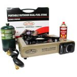 GAS ONE GS-3400P Dual Fuel Portable Propane & Butane Camping and Backpacking Gas Stove Burner with Carrying Case (GOLD)