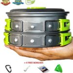 #1 CAMPING COOKWARE MESS KIT | Best cooking set + 4 Free Bonuses | Most complete camp nonstick pots and pans set | Perfect hiking & backpacking green outdoors survival cook set
