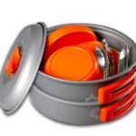 Gear4U: Best BPA-FREE Camping Cookware Set – Mess Kit – 13 Pieces including Free Bonus – Non-Stick Anodized Aluminum – Complete Lightweight Folding Kit for Camping Hiking & Backpacking Outdoor Cooking