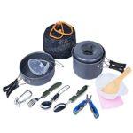Camping Cookware Mess Set ,Lightweight , Compact & Durable Hard Anodized Aluminum Outdoor Backpacking Cookware Multifunctional Plier and Folding Spork Picnic Bowl Pot Pan Set (14-Piece) BENERAY