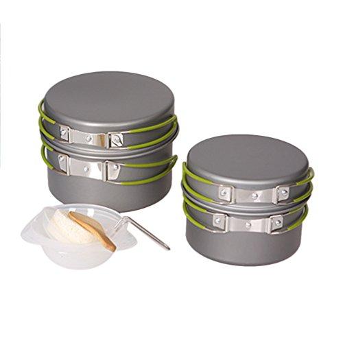 Preup Outdoor Camping pan Hiking Cookware Backpacking Cooking Picnic Bowl Pot Pan Set 9 Piece Camping Cookware Mess Kit