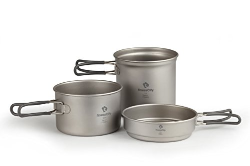 Titanium Camping Cookware Set (1.2L, 800ml & 400ml) 3-Piece Pot & Pan Outdoor Cooking Equipment mess kit, Extra Strong Ultra Lightweight (Ti) Travel / Hiking / Camping Essentials Comes With Cloth Case