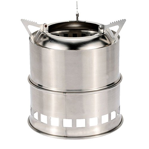 Uning Potable Stainless Steel Wood Burning Camping Stove Lightweight Solidified Alcohol Stove for Outdoor Backpacking Cooking Picnic BBQ