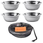 Wealers 6 Inch Stainless Steel Bowl Set Camping Outdoor Soup Plate with a Mash Carry Bag (Set of 4)