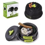 TTLIFE Camping Cookware Mess Kit Backpacking Gear Hiking Outdoors Bug Out Bag Cooking Equipment 12 Pieces Cookset Lightweight Compact Durable Pot Pan Bowls Free Folding Spork, Nylon Bag (Green)