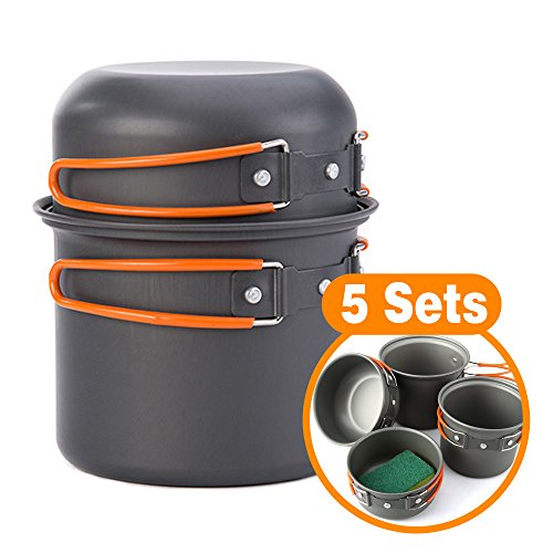 Camping Cookware Mess Kit, Lightweight Aluminum Cookware Cooking Pan Pot Set For Outdoor Backpacking Camping Hiking Picnic