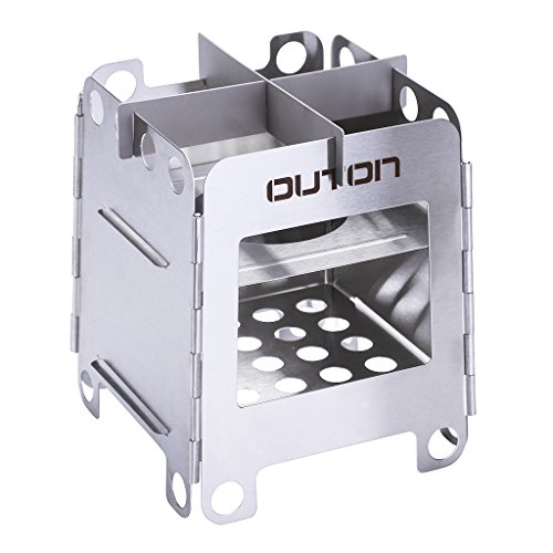 OUTON Portable Camping Wood Burning Stove Compact Foldable Lightweight Backpacking Stove Stainless Steel Alcohol Stove