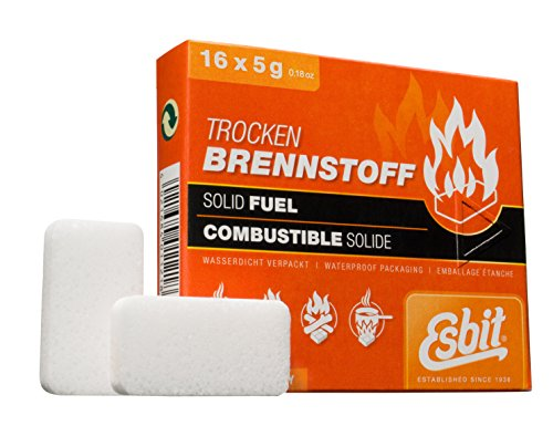 Esbit 1300-Degree Smokeless Solid Fuel Tablets for Backpacking, Camping, Emergency Prep, and Hobby, 5 Gram, 16 Pieces